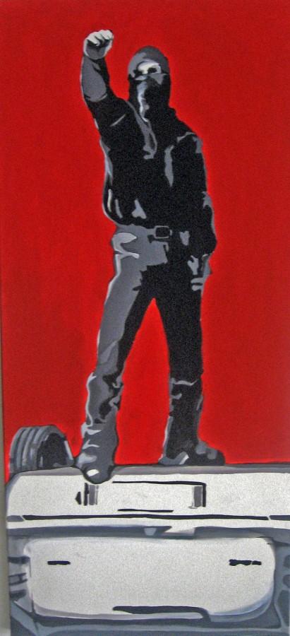 100 pe 40 cm - acrilic pe panza - reclaiming-the-street - 2007