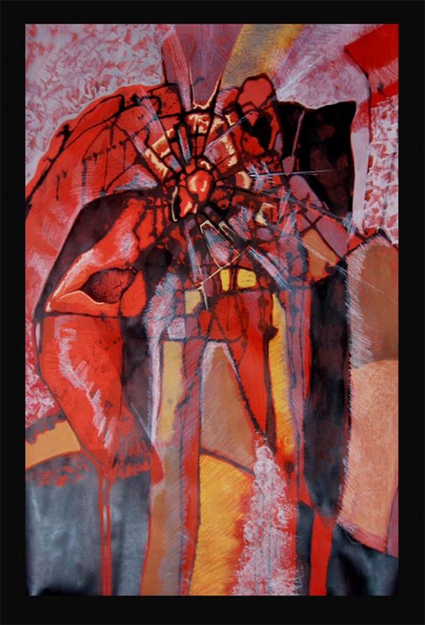 100 pe 70 cm - tehnica mixta pe carton - Ruga - 2006
