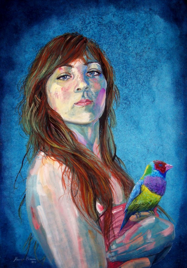 20 cm  - Woman With Bird - Autoportret - - acuarela pe hartie Canson 42x29 cm .