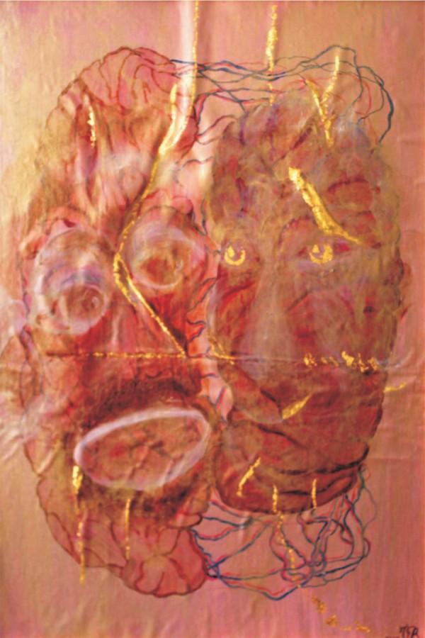 AMPRENTA MEMORIEI ANCESTRALE IN EVOLUTIE-tehnica mixta + foi_a de aur_ 2009