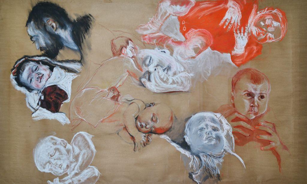Album de familie I, proiect realizat in colaborare cu Maria Gheorghita-Vornicu, pastel, tus si sepia pe carton  200x120 cm, 201