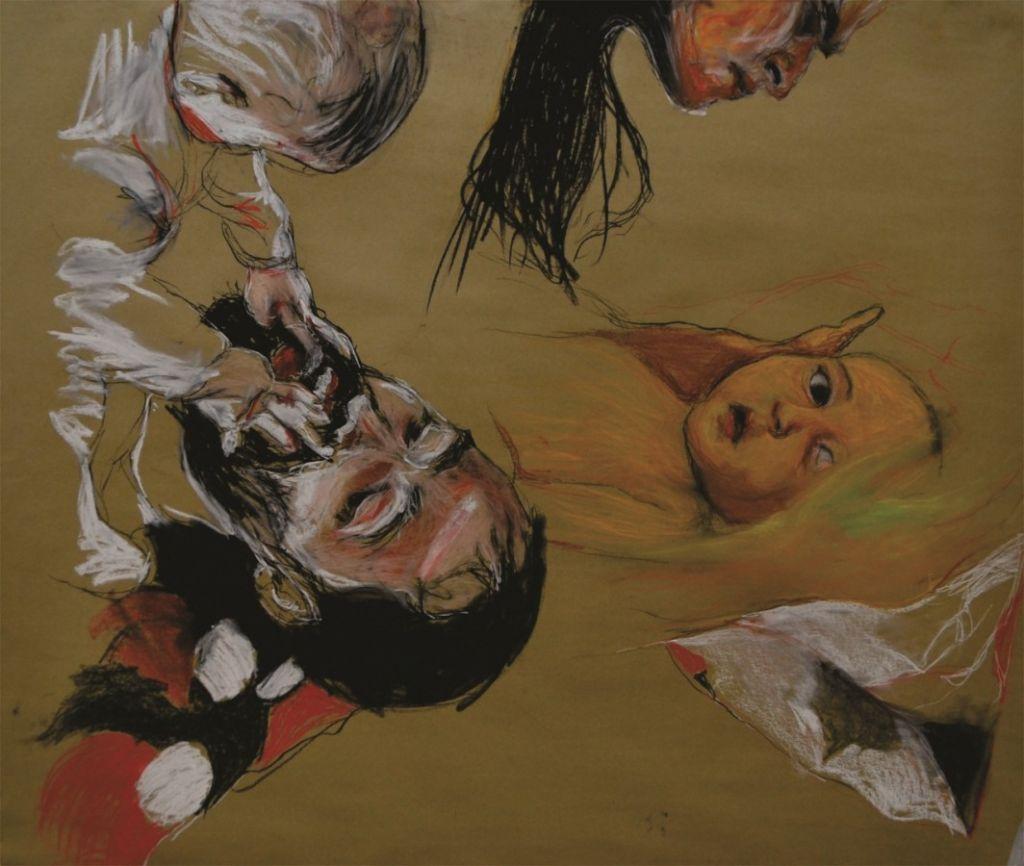 Album de familie II, proiect realizat în colaborare cu Andrei Morteci, pastel pe carton,  140x120 cm,2012