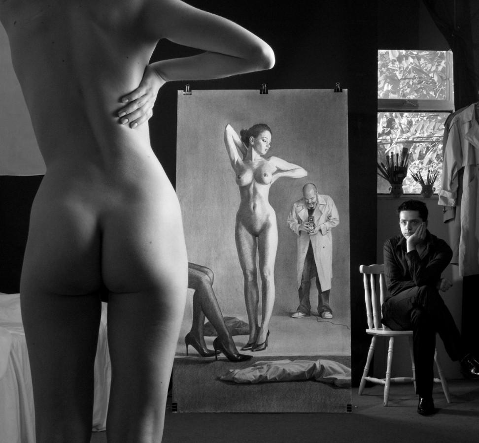 Autoportret cu model si cu sotul modelului interpretare dupa Helmut Newton 2009 print foto 100x102 cm (Copy)