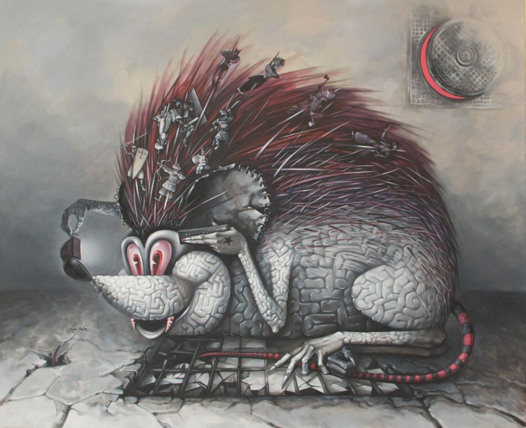 Brainpyre- 2012 - 2013, acrylic pe panza, 100x80 cm