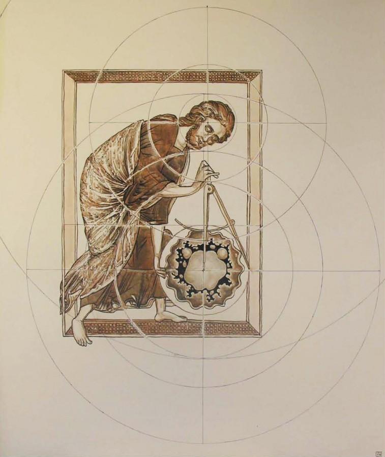 CRISTIAN UNGUREANU- GOD AS GEOMETER-acrylic-panza-120x100 cm_ 2011