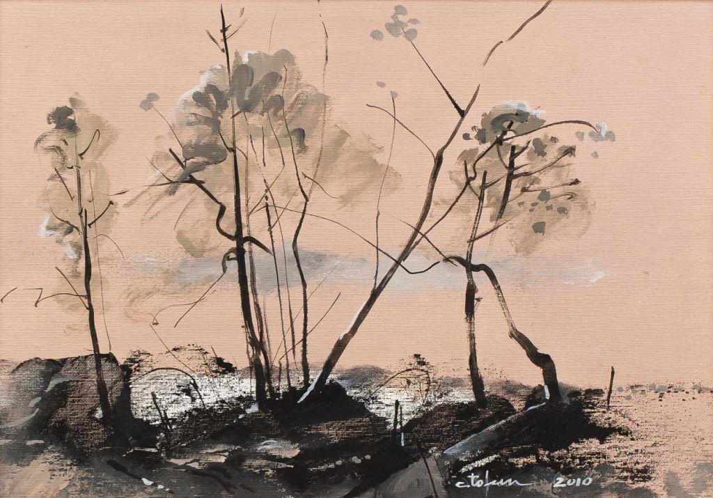 Caligrafii-in-peisaj,-ulei-pe-panza,-30x43-cm