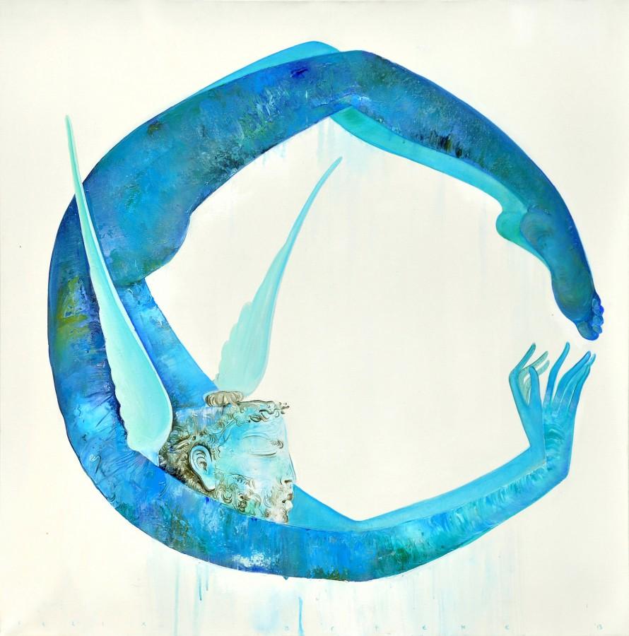 Ciclul Blue world Cronos - cerc acrilic pe panza 100x100 cm 2013