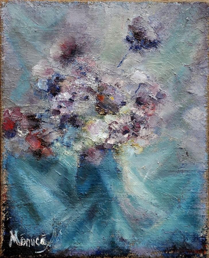 Ciulini in cristal - ulei pe panza, 45x65 cm, 1986 .