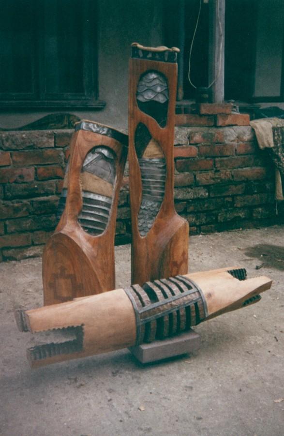 Compozitie - lemn si metal, 110x100x50 cm, 1999