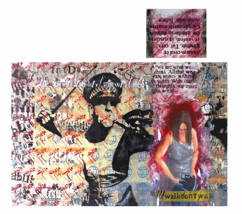 Convictiune teh mixta colaj graffiti ulei acrylic dim 250x167cm anul 2012