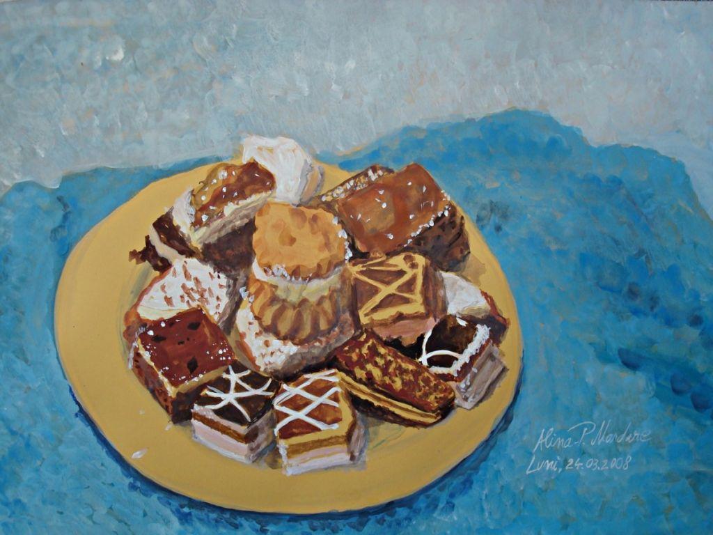 Cookies -  acuarela pe carton 29x42 cm .