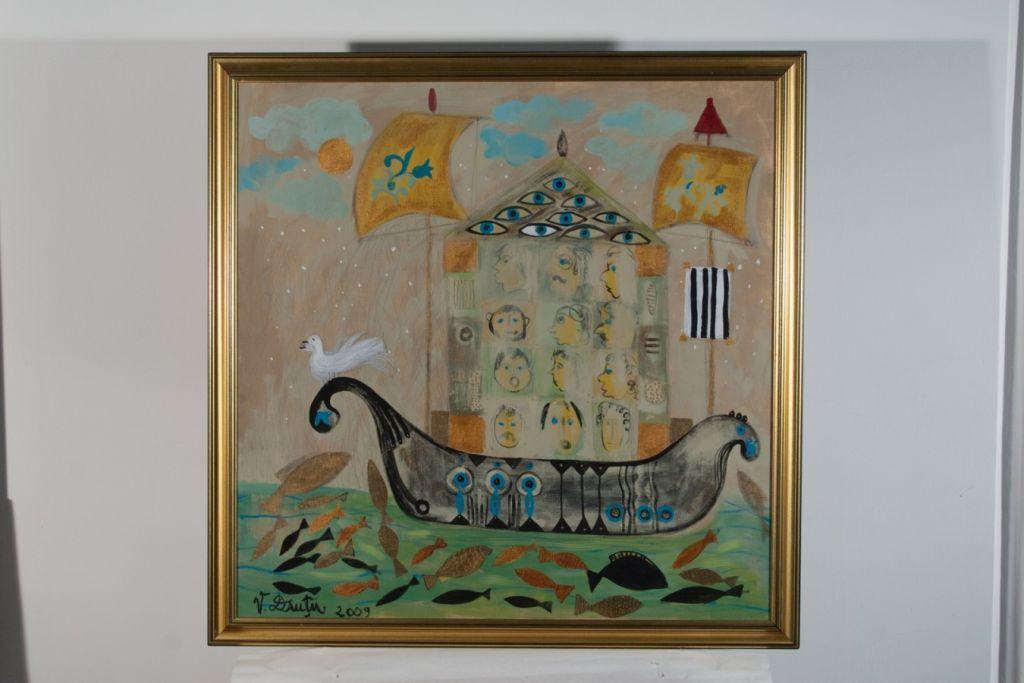 Corabia magica, acril pe panza, 80x80cm, 2009