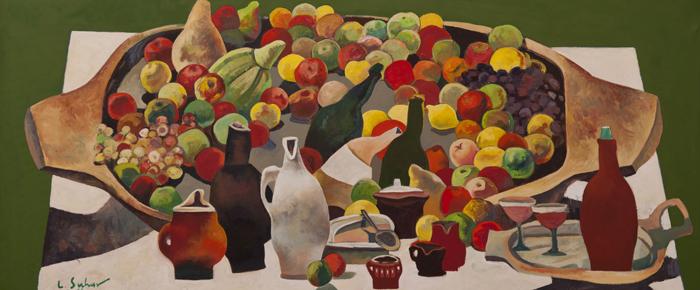 Covata cu mere, ulei pe pânza, 58 x 133 cm, 2011