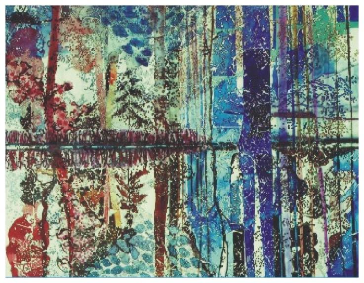 Delta colorata - tus, 14x19, anul 1996