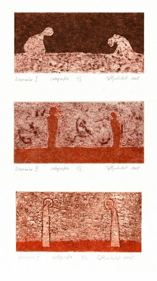 Devenire-I-II-III, 2008, colografie, 7x15cm- .