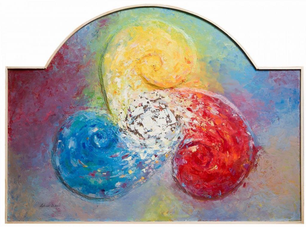 Dorin Lehaci Titlul Culorile luminii  tehnica mixta 110 - 90 cm an 2011