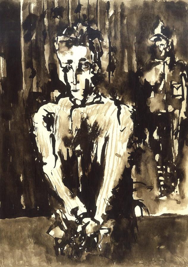 Dreptate, tus pe hartie, 40x50 cm. 1985