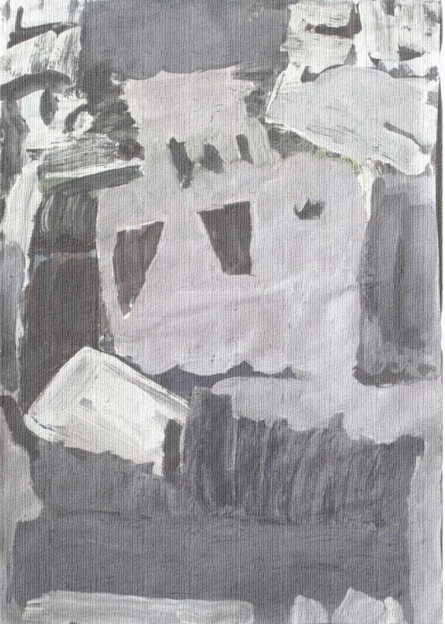 E. Compozitie 5. Tempera pe hartie. 50x35cm. 2005 .
