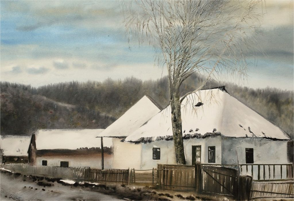 Eugen Mircea-Case bucovinene, acuarela 83 x 93 cm - 2010  .