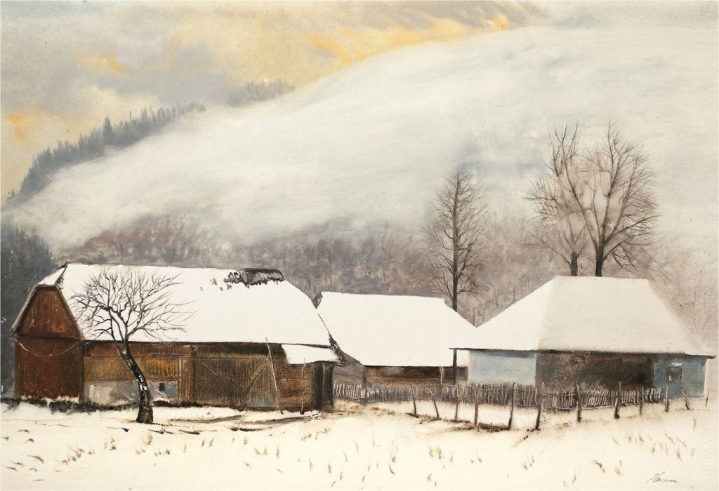 Eugen Mircea-Dupa ninsori, acuarela 83 x 93 cm  - 2010  .