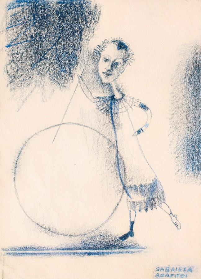 Fata cu cercul - pastel gras, 29x23 cm, 2011