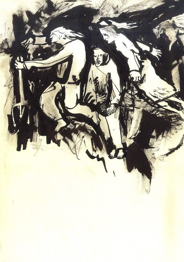 Furtuna, tus pe hartie, 40x50 cm. 1993