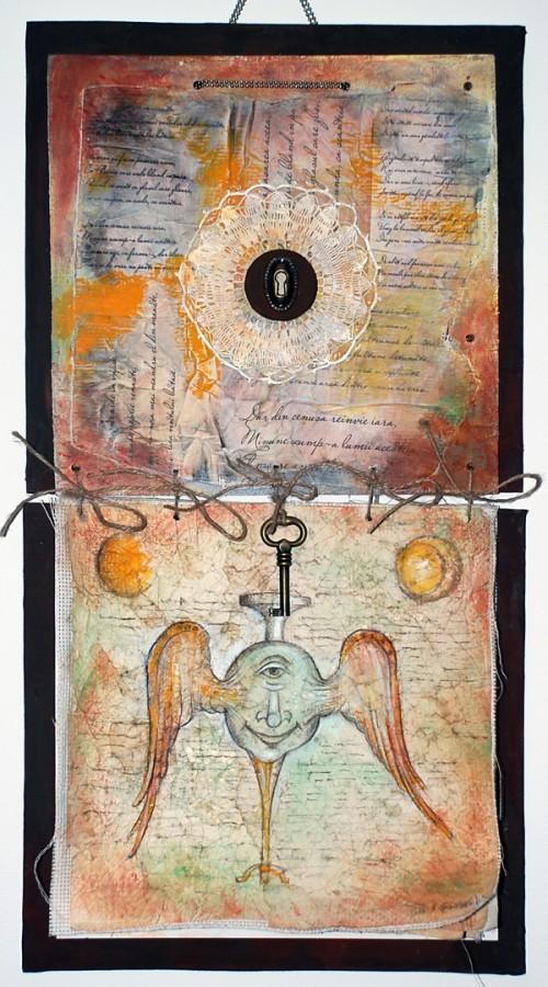 Gavrilean Dragos_Inger de paza_carte obiect_tehnici mixte_30x60 cm