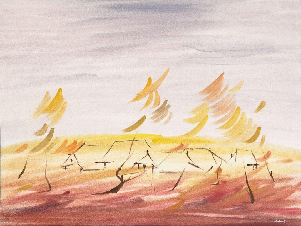 _In umedul amurg_, 40 x 57 cm., acuarela, 2010;