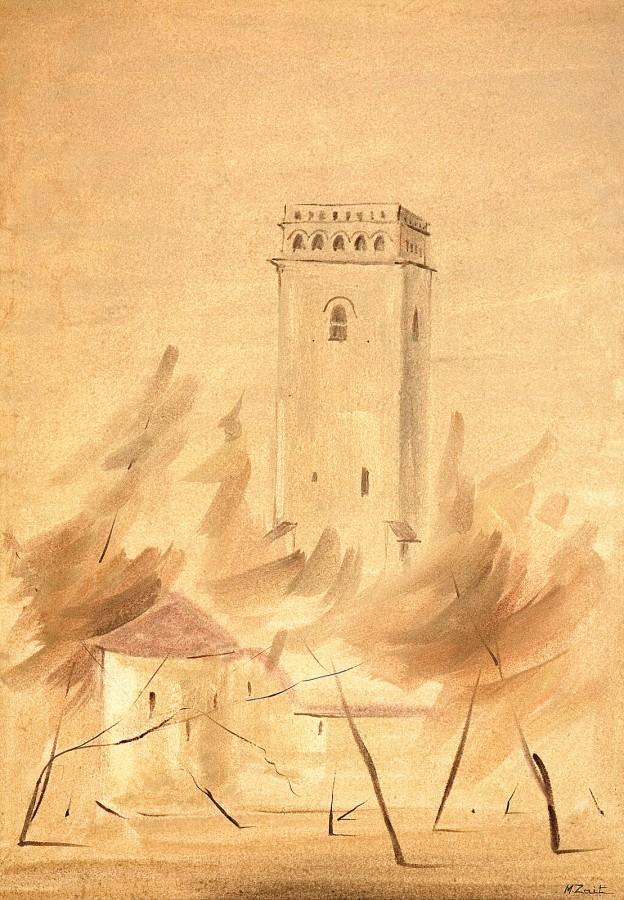 ,In zidirea Sfintei Golii_, 40 x 28,5 cm., acuarela, 2009;