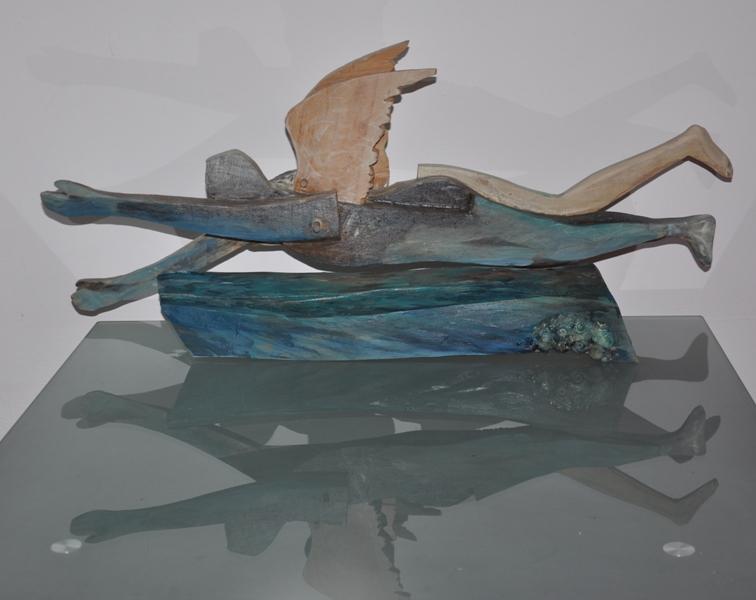 Ingerul Apelor - lemn policrom, dim 100x60x30cm, 2012