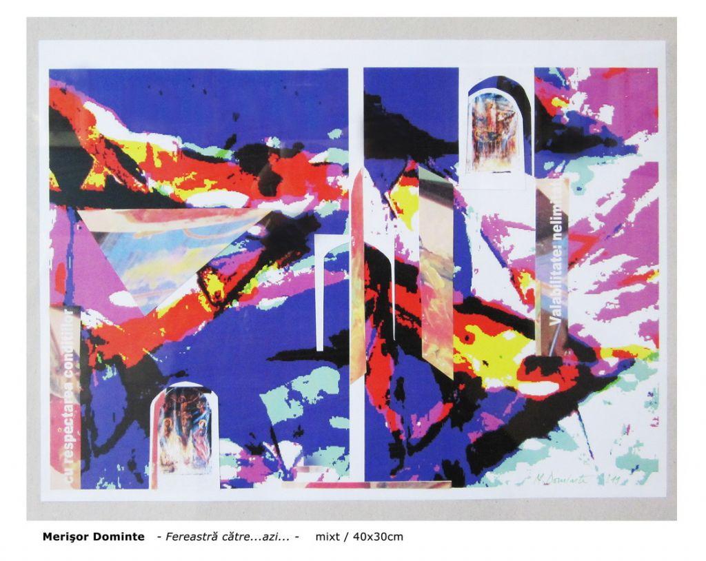 Merisor G. Dominte - Fereastra catre.Azi!., tehnica mixta hârtie, 40x30 cm, 2011