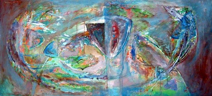 Merisor G. Dominte - Intre lumi...,  acrilpânza,  50x220 cm, 1999