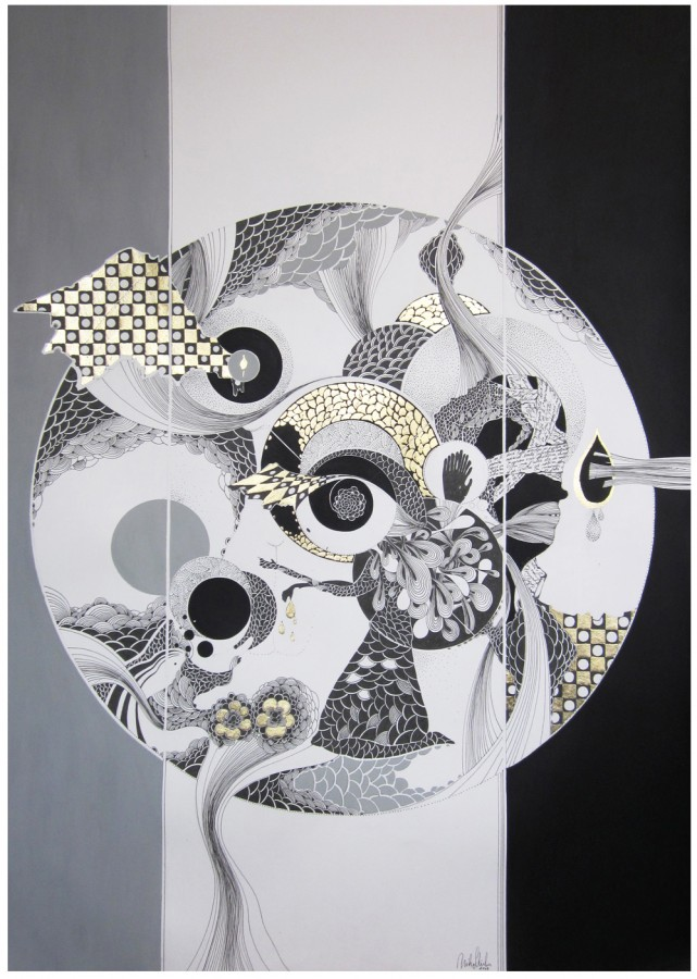 Mihaela  Stirbu - The Pineal Gland 2011 - 100x70 - Grafica mixta