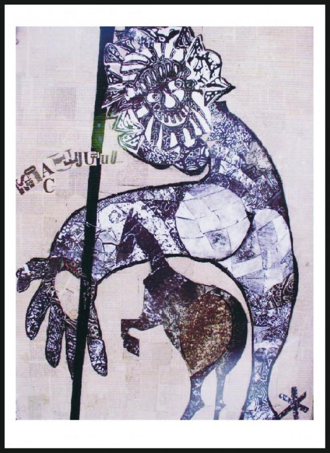 Minciuna - colaj, 83x67, anul 2001