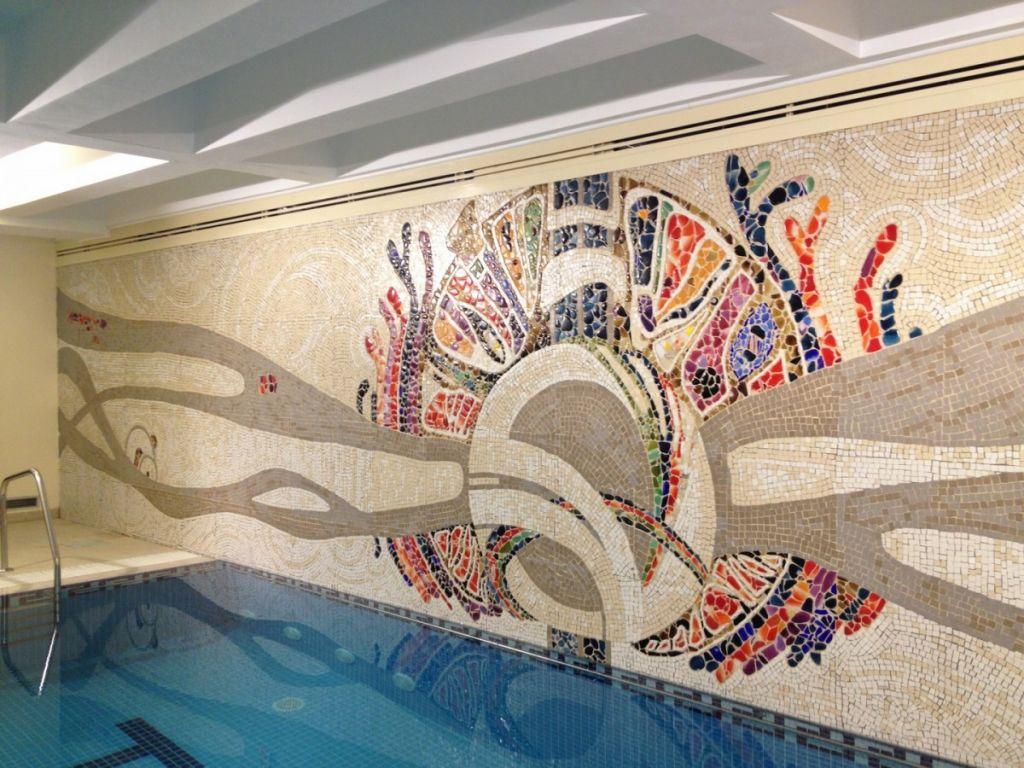 Arborele Vietii, mozaic din faianta, granit si sticla, 220 x 1200 cm, 2012 .