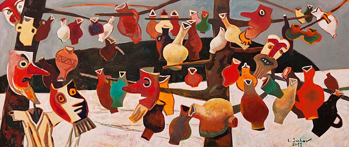 Poveste de iarna II, ulei pe panza, 58 x 133 cm, 2011