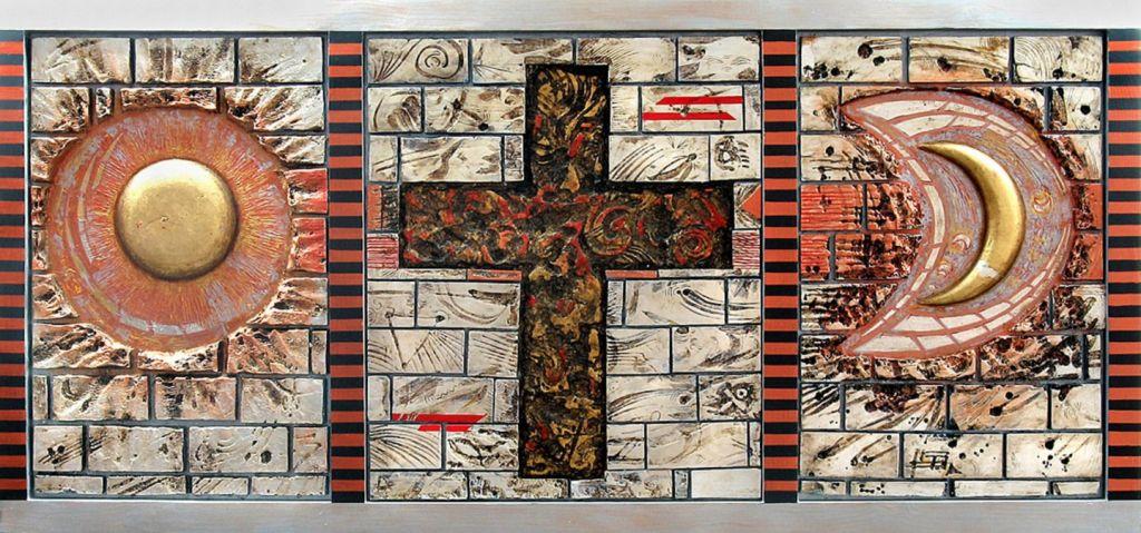 RITUAL DE TRECERE (2007), triptic, tehnici mixte,  138x66 cm.;