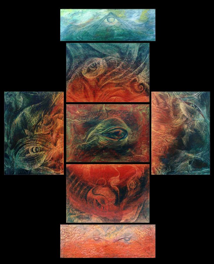ROSICRUCIAN (2001) - poliptic 7 piese, Incizii în ceracolor, 179x137 cm.;