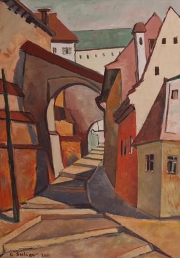Sibiu - strada veche, ulei pe pânza, 70 x 50 cm, 2011