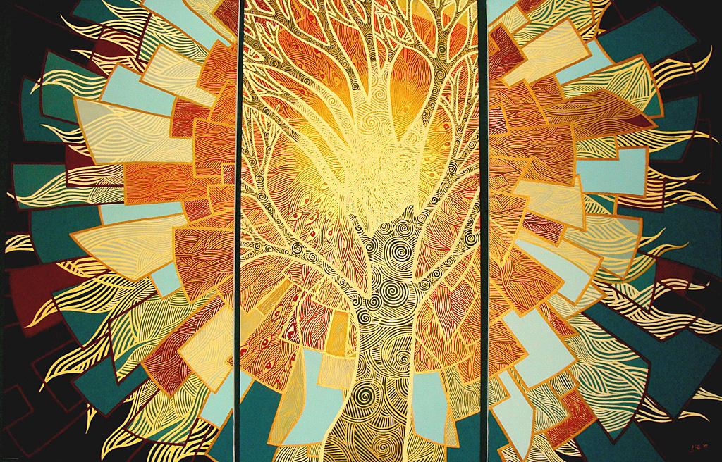 Soare-pentru album triptic acril pe panza 120x180