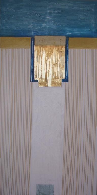 Templul Apei - acrilic, colaj foita aur pe panza, dim 200cm100cm,2010