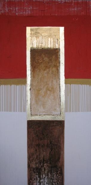 Templul focului - acrilic, colaj pe panza, 100x200cm, 2010