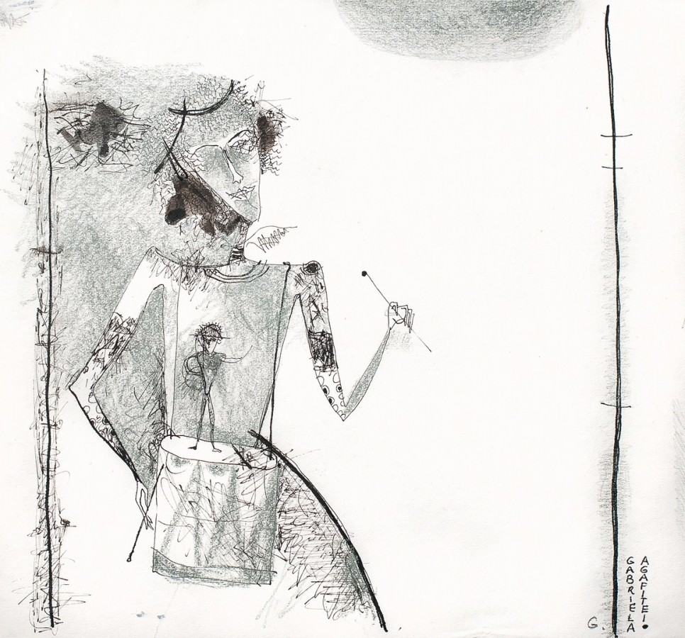 Tobosarul - peniță și pastel gras, 22x20 cm, 2000