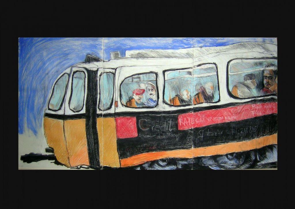 Tranzit VI, pastel pe hârtie, 210x 100 cm, 2006 .