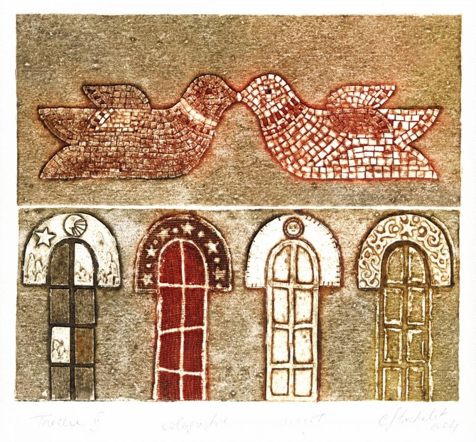 Trecere II, 2004, colografie, 18x20cm .