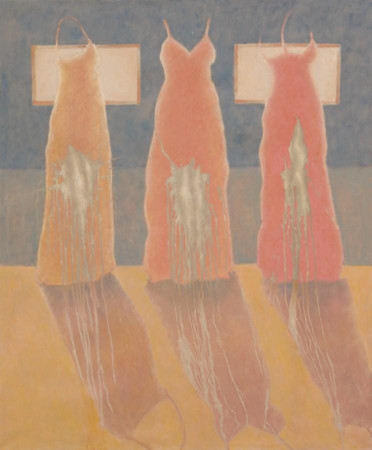 Trei rochii patate_ulei pe panza_170x40cm_2012