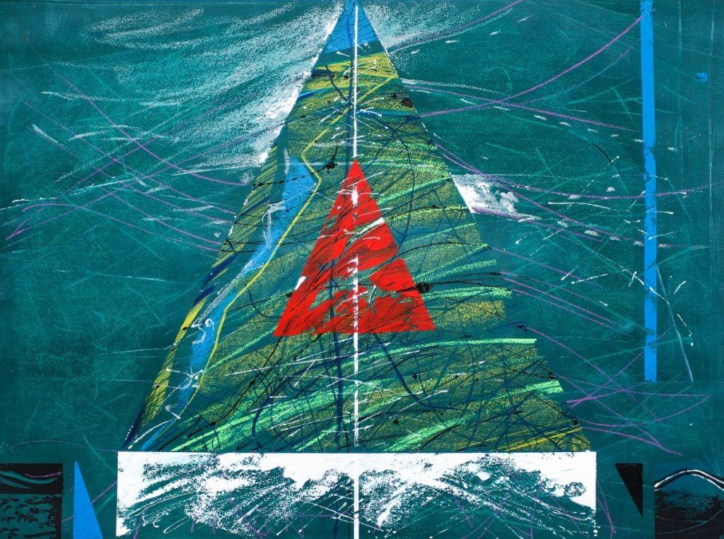Triunghi rosu in triunghi albastru, tehnica mixta pe carton, 50x70 cm .