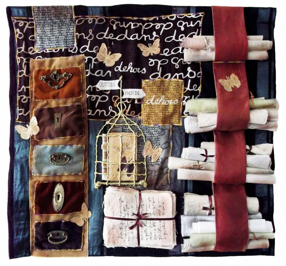 fluturii sunt liberi 75x85cm colaj textil montaj 2012