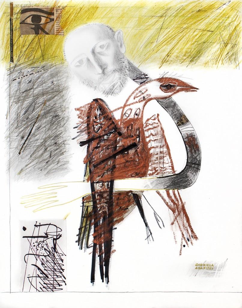 lucrare ANUAR - omul cu pasare tm 50x40 cm 2007