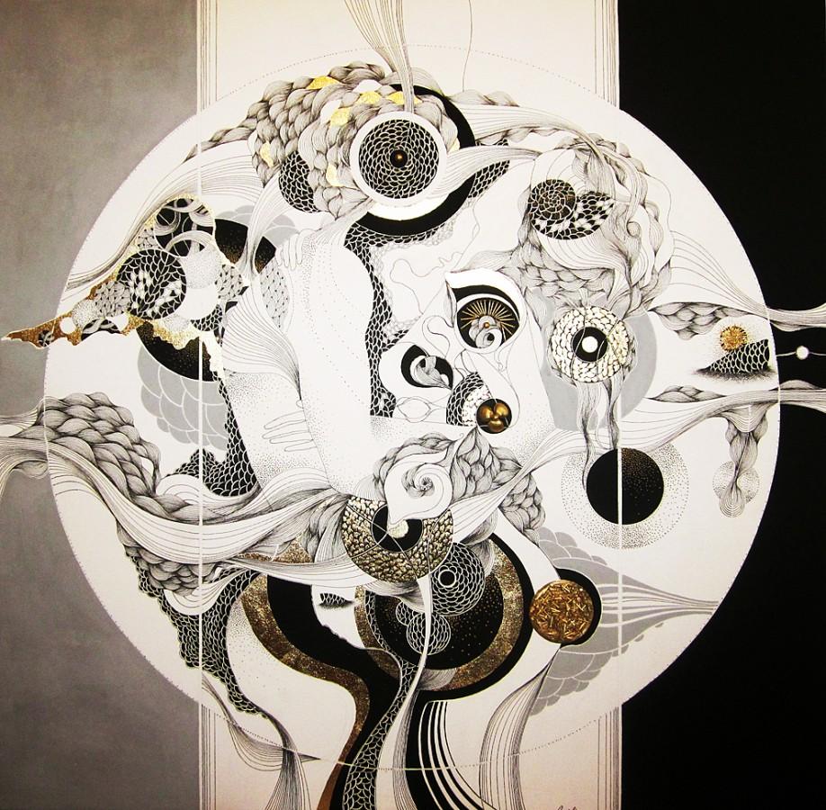 mihaela stirbu - Cele Doua Cuvinte  2012 - 100x100 Grafica mixta